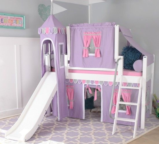 solid wood loft bed w angle ladder slide tower top tent and curtain modular design panel 51 h twin purple hot pink grey white