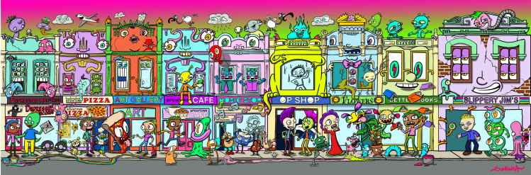 colourful illustration of lots of shops and monsters