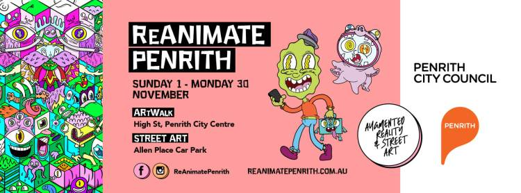 pink background of illustrated cartoon poster for ReAnimate Penrith