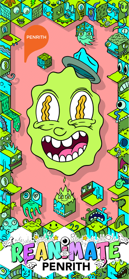 green creature on pink background drawing