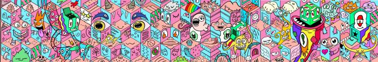 colourful illustration of creatures crawling over a 3D pink background