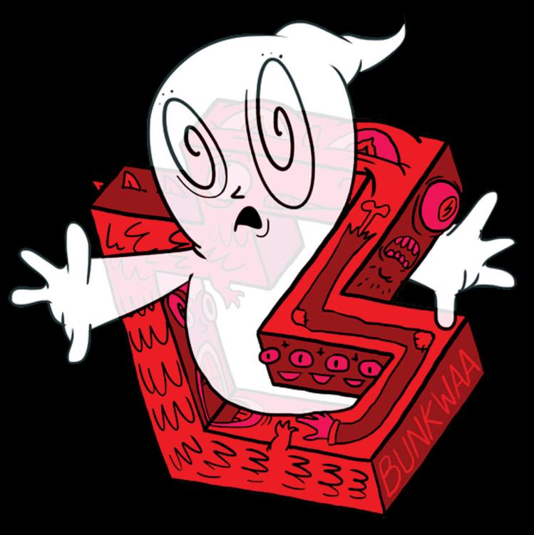 drawing of ghostbusters ghost on a red letter B