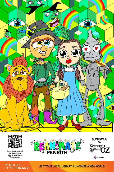 cartoon drawing of the Wizard of Oz characters