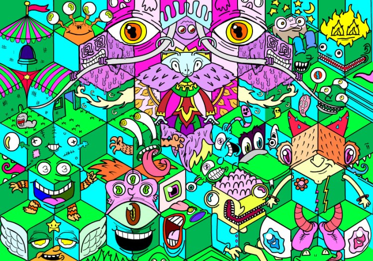 colourful, busy drawing of lots of creatures and animals
