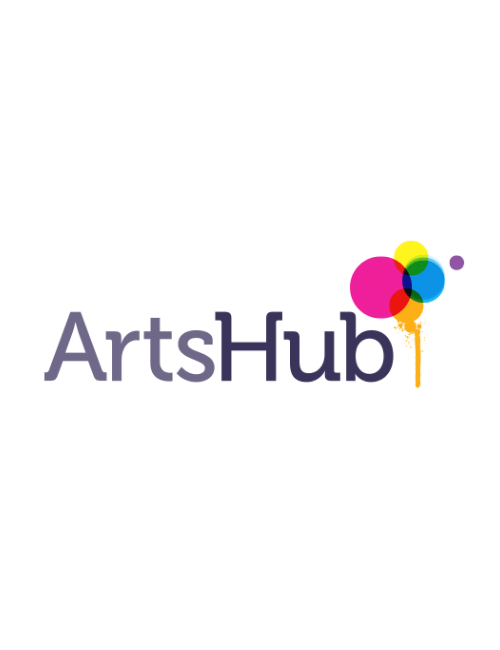 Arts Hub logo with colourful balloons
