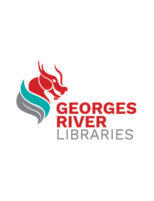 Georges River Libraries logo in red with dragon image