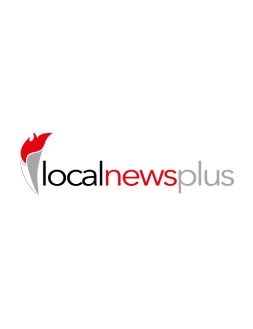 Red torch with grey writing Local News Plus logo