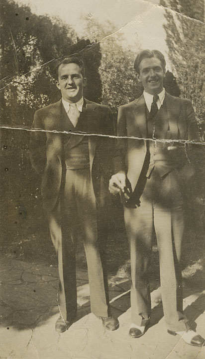 Hal Kemp sideman Saxie Dowell and Bunny; probably in England, summer, 1930.