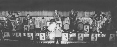 Berigan solos in front of his band at the Paramount Theater, NYC; November-December, 1937.