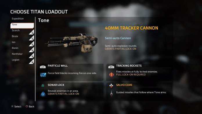 The available loadout that you can swap in the fly by press right on d-pad.