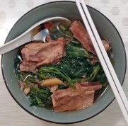 Homecooked ribs and vermicelli soup