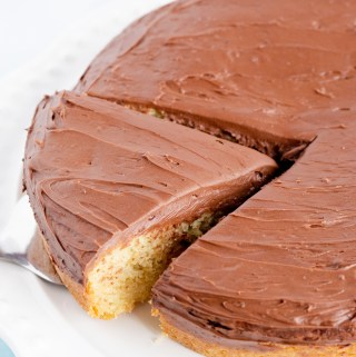 Classic Yellow Sour Cream Cake Topped with Hershey's Fudge Frosting