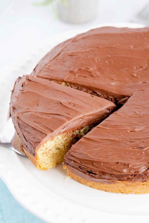 Yellow Sour Cream Cake with Fudge Frosting