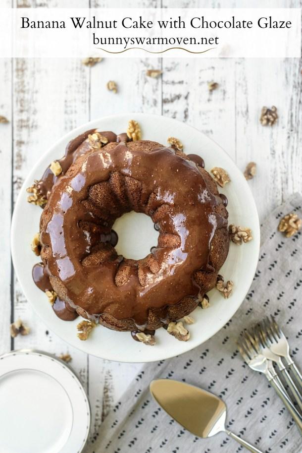 Banana Walnut Cake with Chocolate Glaze