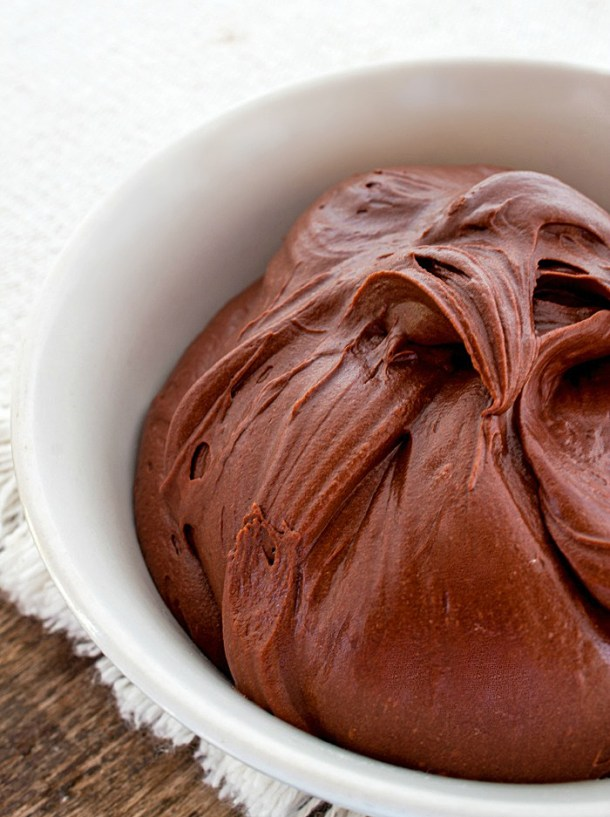 Homemade Chocolate Frosting in a white bowl.