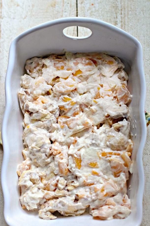 Peach Cream Cheese Cinnamon Roll Breakfast Casserole