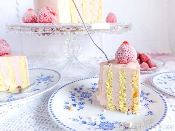 Vertical Stripe Cake with Strawberry Meringue Buttercream