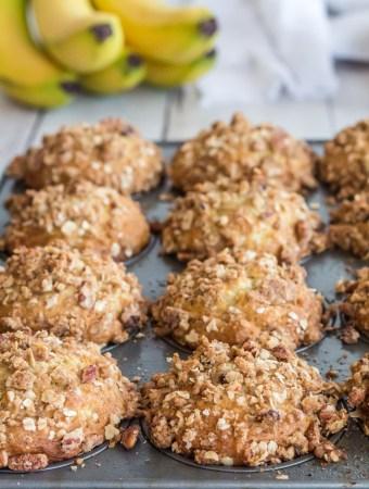 banana oatmeal muffins is a baking tin