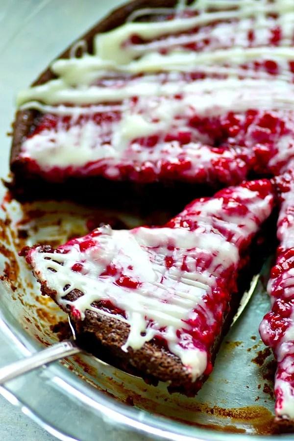 Flourless Mocha White Chocolate Raspberry Pie