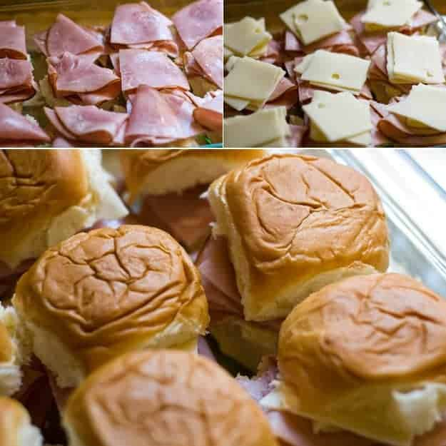 assembling ham sandwiches