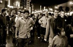 Pedestrians, Hollywood and Highland, Kodak Theatre, Hollywood, Los Angeles, California. Fujifilm Neopan 1600 35mm BW film