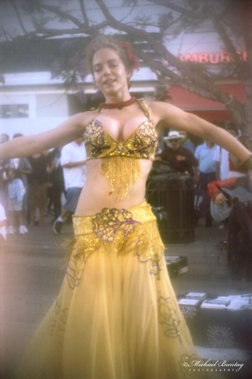 Gypsy Dancer, 3rd Third Street Promenade, Santa Monica, California. kodak E200 35 mm positive, scanned 3200 ppi, manual levels, auto curve. Above medium exposure.