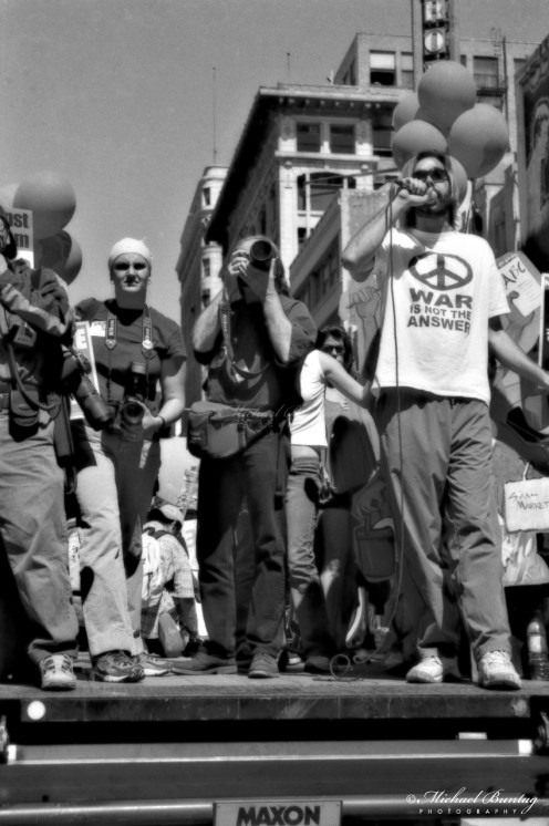 Anti-War March and Rally, Los Angeles, California. Ilford FP4+ Black and White negative 35mm film.