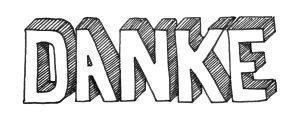 Danke - handgeschrieben in 3D Optik