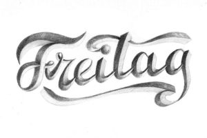 Freitag - Hand-Lettering Skizze Bunte Galerie