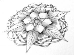 die Bänder um die Blume herum sind absolut Zentangle