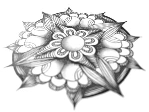 Blume im Zentangle-Stil
