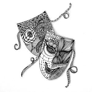 Masken im Zentangle-Stil