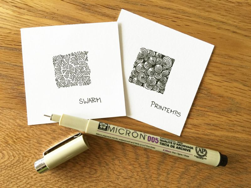 Zentangle® Muster Swarm und Printemps