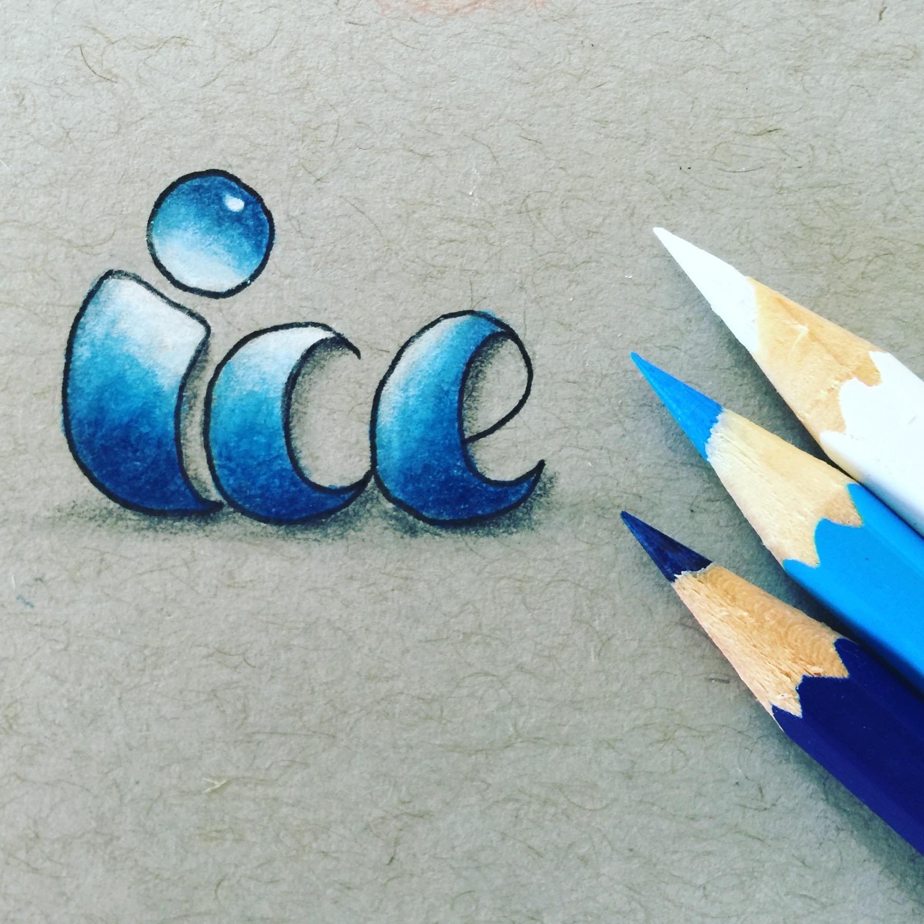 Ice - Buntstift Ombre Hand-Lettering