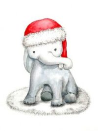 Aquarell Illustration Baby-Elefant mit Weihnachtsmütze