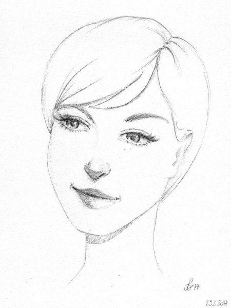 Verträumte Frau Bleistiftzeichnung