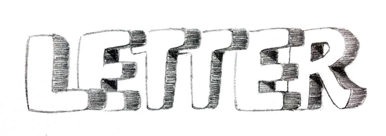 Letter - Hand-Lettering Bleistift Skizze   Bunte Galerie