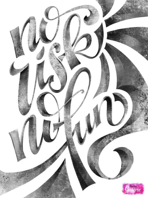 no risk no fun - iPad Lettering | Bunte Galerie