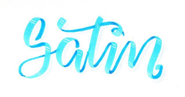 Satin - Satinband Lettering mit Tombow Dual Brush Pen