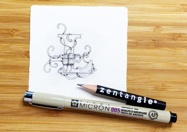 Monogram L Zentangle Mak-rah-mee