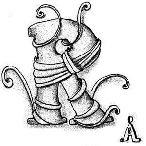 Tangle-Monogramm R - Anya Ipsen (Sutsche Tangeleien)