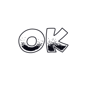 "Lettering ""OK"" mit Stippling Deko"