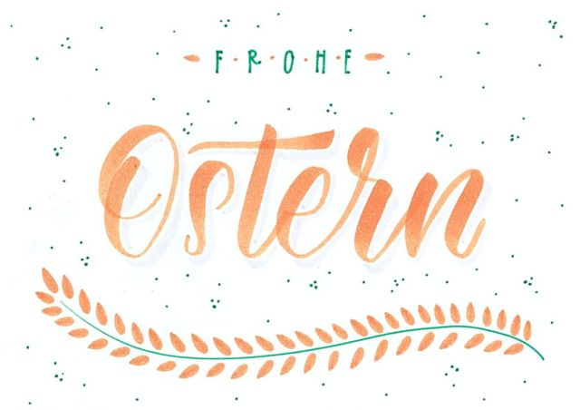 Frohe Ostern Handlettering Postkarte 1