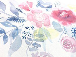 Aquarell-Blumen nach dem Anleitungsvideo von Shayda Campbell