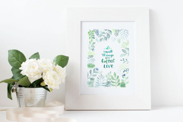 do small things with great love - Brushlettering mit Blätterrand