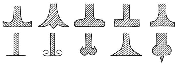 Beispiele für verschiedene Serifen