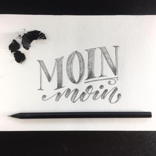 Moin moin Handlettering Bleistift Skizze