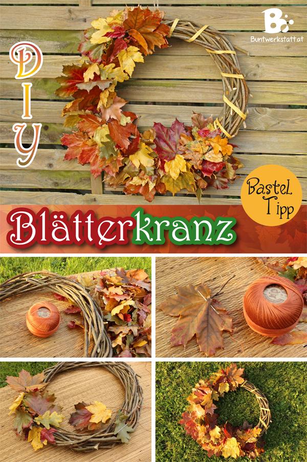 Herbstlicher Blätterkranz Anleitung