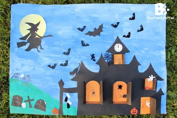 Geisterhaus basteln für Halloween