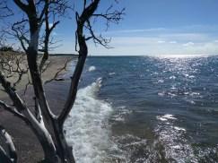 At a sandy peninsula.